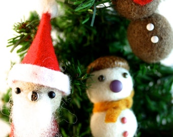 Felt balls Christmas tree ornament set of 3 felted acorn snowman, felt ball Santa, felted acorns reindeer