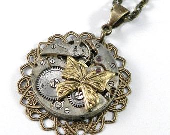Steampunk Necklace, SALE Clockwork Butterfly Watch Movement Brass Ruby Jewel Brass Lace Necklace