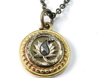 Antique Button Jewelry, Victorian Button Necklace, Holiday Gift by Compass Rose Design
