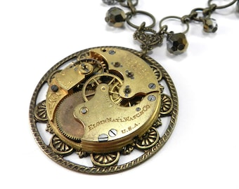 Steampunk Necklace, VICTORIAN Bridal Crystal Clockwork, Antique Pocket Watch Necklace, Silver Gold Crystal Ornate Wedding Jewelry