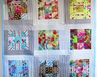 Baby Quilt Modern Patchwork Shoo Fly Wall Nursery Unisex Contemporary – 40 x 40.5 Inches