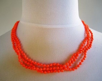 Pearl Necklace 3 Strand Swarovski Crystal Neon Orange Hand Knotted  - 20 inches