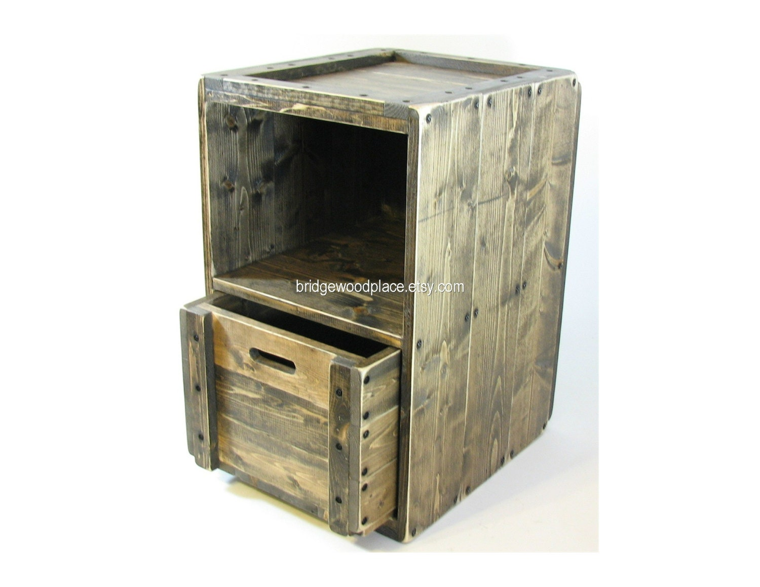Wood crate furniture side table wooden end by bridgewoodplace