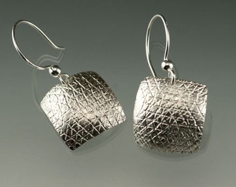 Sterling Square Roller Printed Dangle Earrings, Silver Dangle Earrings, Domed Square French wire Earrings