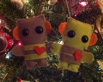 wool felt robots in love or twin christmas ornament - brown and green