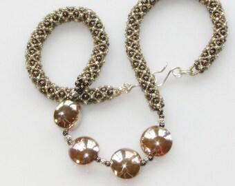 Lampwork Glass Lentils featured in Golden Beaded Rope