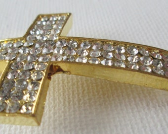 1PC - Cross Charm Connector - Gold Toned with Rhinestones - 55x34mm