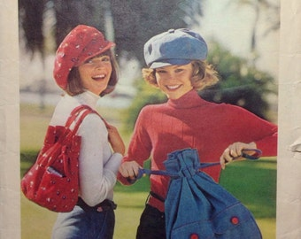 Vintage Sewing Pattern Bags and Caps 1970s Fashion Accessories Purses Keep on Trucking