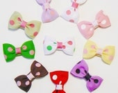 Infant Girls Polka Dot Hair Bow Set Small Tiny Little Baby Newborn Toddler Childrens Kids Boutique  Fashion Hair Clip Hairbows (Set of 10)