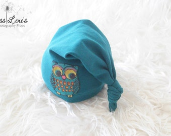Newborn Sleepy Cap, Baby Owl Hat, RTS Newborn Photo Props, Newborn Stockig Cap, Baby Boy Sleep Cap Jersey Hat, Newborn Photography Prop