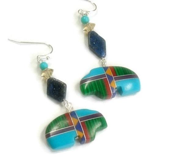 Zuni Earrings: Spirit Bear Earrings Inlay Zuni Bear Earrings Lapis Lazuli
