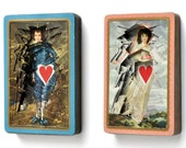 Blue Boy and Pinkie / Lonely Hearts deconstructed playing cards / paper sculpture