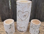 Personalized WHITE BIRCH Unity Candle Holder Set -Tea Candle Size - Natural Rustic Wedding Candle - Woodland Wedding Decor