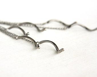 Summer Party Gift Minimal Earrings Modern Earrings Geometrical Cluster Earrings Gunmetal Chain Earrings Curly Spiral Tubes Simple Jewelry