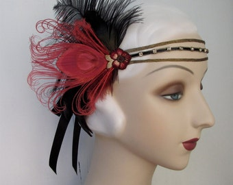 Imogene- flapper headpiece in red, black and gold of 1920's rhinestones, 1920's silk flowers and bird friendly feathers