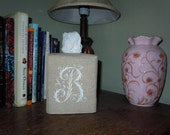 "Tissue Box Cover -  Made To Order - Monogrammed Essex Natural Linen Tissue Cover Special French Lettering""B"""