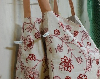 Fabric bag with red flowers handmade washable perfect for groceries or books