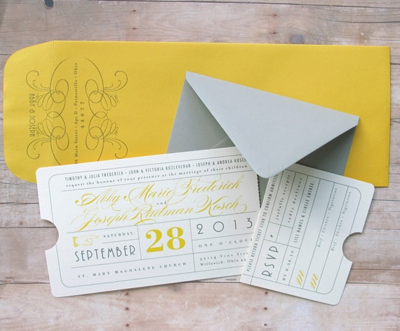 Vintage Ticket Invitation Theater Premiere Night By LetterBoxInk