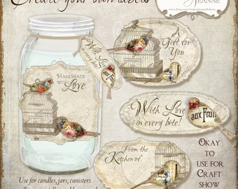 Digital Vintage Birds Food Gift Kitchen Labels Collage Sheet E357R2 product tag retro vintage recipe card floral fruit bird cage shaped tags