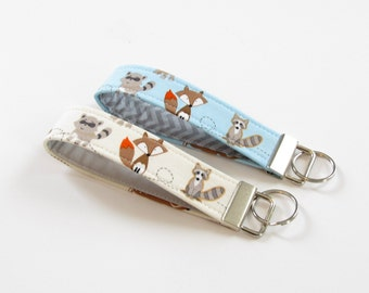 Woodland Animals Fabric Key Chain, Wristlet Strap in Blue and Cream Animals, Racoon, Fox, Deer, Squirrel - PREORDER