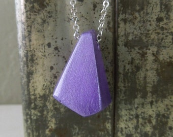 Purple Nugget Necklace - Metallic Purple Clay Nugget Pendant Necklace Silver Chain