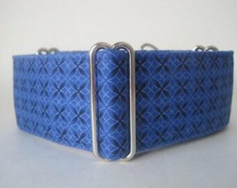 2 inch Martingale Collar, Blue Martingale Collar, Royal Blue, Geometric, Greyhound Collar, Blue Dog Collar, Wide Dog Collar