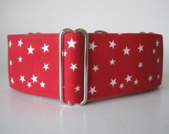 Red Martingale Collar, 1.5 Inch Martingale Collars, Stars Martingale Collar, Red Stars, Red Dog Collar, Martingale Dog Collar