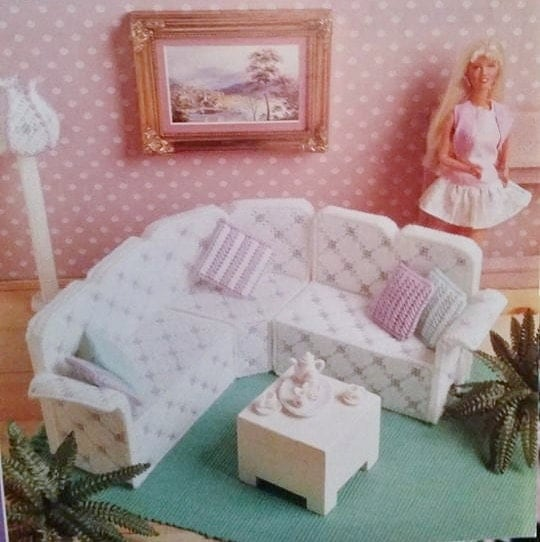 Rare Fashion Barbie Kelly Doll House Living Room Furniture
