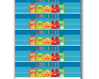 Monster Juice Printable Water Bottle Wraps - Printable party