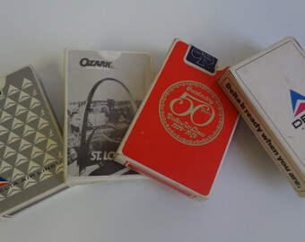 Collection of 4 Vintage Souvenir Airline playing cards - Delta Airlines and Ozark Airlines Complete decks