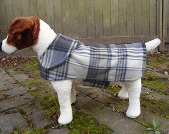 Grey Fleece Plaid Dog Coat- Small- 12 to 14 Inch Back Length - Or Custom Size