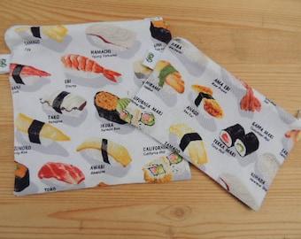 Reusable Reuse Zipper Sandwich and Snack bags BPA Free Eco Friendly Set of 2 Japanese Sushi Print By Robert Kaufman Asian print groovygurls