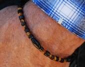 Tiger Blood - 8.5 Inch Handcrafted Gemstone Bracelet - Sea Shell, Horn & Tiger Eye - SGArtCA - Tribal Chic Jewelry