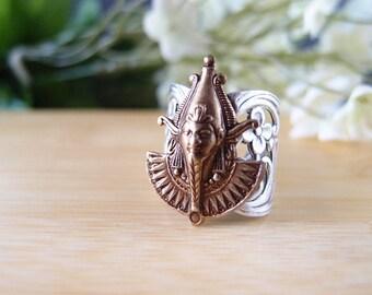 Osiris ring, Egyptian goddess, flower ring, aged brass-adjustable metal ringR006