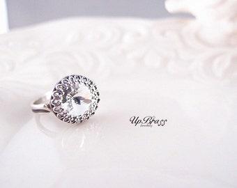 Aged sterling silver brass,Swarovski diamond crystal laced ring,Adjustable,Victorian,Edwardian,Wedding