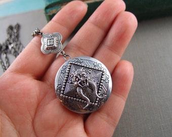 Gothic dragon locket, aged silver brass locket, round locket, N012