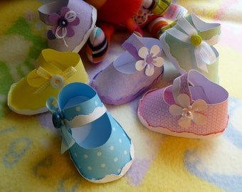 Baby Shower Corsage...Mom to Be Corsage...Handmade Paper Baby Shoe..Baby Shower Favors...DIY Diaper Cake..Gender Reveal...Personalized :)
