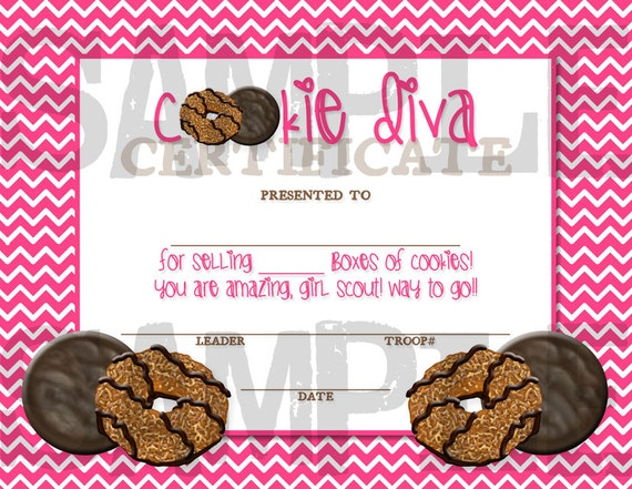 girl scout cookie diva award certificate by