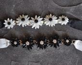 Flower Necklace on Ribbon with Swarovski Crystals by Kim Lugar