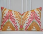 Decorative Pillow Cover - BOTH SIDES Or Front Only - IKAT - Coral Pink - Orange  - Green - Accent Pillow - Cushion cover - Pillow Case