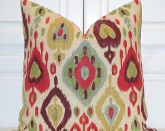 IKAT Decorative Pillow Cover - Red - Green - Plum - Aqua Blue - Gold - Cushion Cover - Sofa Pillow