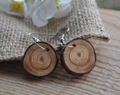 wood earrings •  pine wood earrings