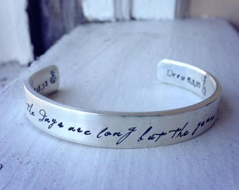 Birth Designs -Heirloom Thick Sterling Silver Classic Cuff - Personalized - 14 font choices