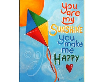 Art for Children, You Are My Sunshine Kite No. 2, 11x14 Acrylic Nursery Wall Art