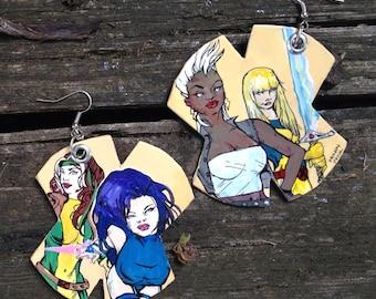 Favorite X Ladies - hand-painted X-Men comic book earrings - Storm Rogue Psylocke Magic