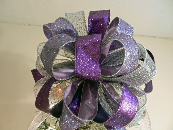 Items similar to Large Christmas Tree topper bow made of a ...