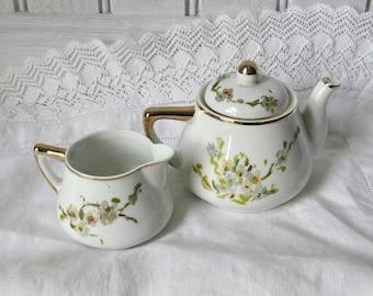 Meiyo China Teapot and Creamer / Hand Painted / Children's