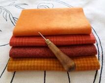 PUMPKIN QUARTET Hand Dyed Wool Bundle for Rug Hooking,Applique & Fiber Arts