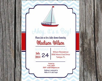Nautical Baby Shower Invitation, baby boy nautical anchor shower, DIY, printable