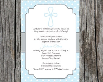 Printed Baptism Invitations - Baptism Christening Invitation Announcement , baby boy baptism invitation